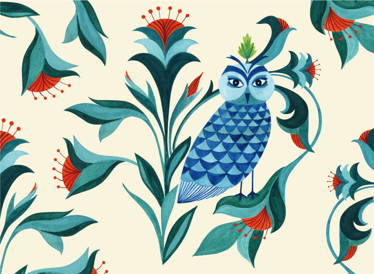 Pattern design Blue Birds