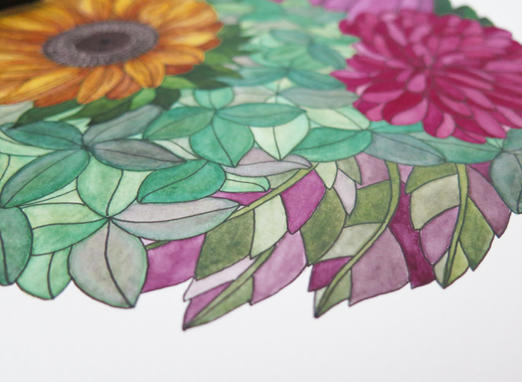 Watercolor illustration Flowers Nº4 detail